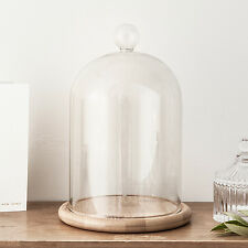 Large Glass Cloche Bell Jar Dome With Bamboo Tray by Lights4fun