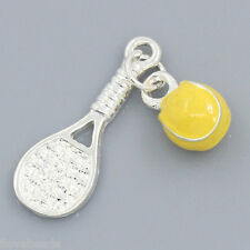 LOVE 10x Charm Pendant Enamel Tennis Racket Ball Silver Plated 25x9mm,11.5x7.5mm