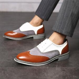 Men Wedding Ball Brogue Wingtip Splicing Casual Shoes Lace Up Oxfords Work Dress