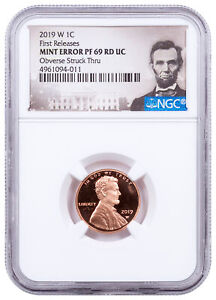 2019 W Proof Lincoln Cent Obv Struck Thru NGC PF69 Mint Error FR CPCR4 SKU64021