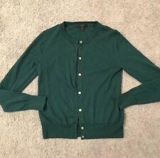 J Crew Lightweight Merino Wool Jackie Cardigan Sweater Green Gold Buttons Small