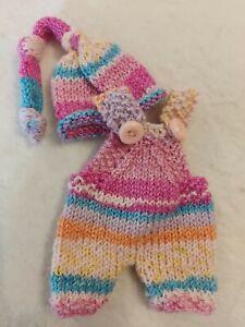 so niedlich: Trägerhose und Mütze für ca. 13 - 15 cm kleine Bären, Puppen