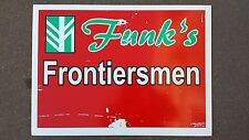 FUNK'S FRONTIERSMAN Corn Seed Dealer Plastic Field Sign Authentic Barn Man Cave