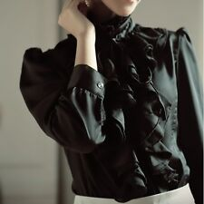 Womens Long Sleeve Stand Collar Button BLACK Shirt Ruffle Tops Blouse Satin Soft
