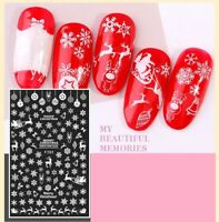 Christmas Nail Art Stickers Decals White Snowflakes Baubles Santa Sleigh (F283)