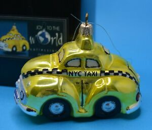 """NYC TAXI blown glass Christmas ornament from Joy to the World 4.75"""""""