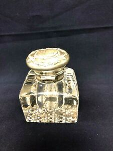 ANTIQUE ENGLISH CRYSTAL AND STERLING SILVER INKWELL