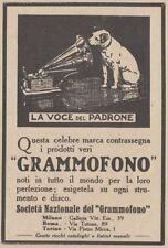 Z2812 Grammofono LA VOCE DEL PADRONE - Pubblicità d'epoca - 1923 old advertising