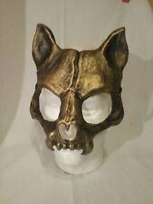 Gold cat skull mask, kitty cat, masquerade, carnival, mardi gras, venetian Mask
