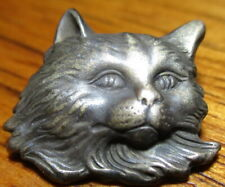 """Antique from France~ """"PERISAN CAT HEAD"""" Realistic~Vintage White Metal Button"""