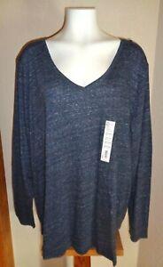 Sonoma Women's Plus Sz 3X Everyday V-Neck Long Sleeve Tee Shirt Navy Variegated