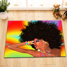 "15X23"" Kitchen Bathroom Floor Non-Slip Mat Rug Carpet Afro African Black Woman"