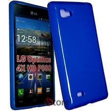 Cover Custodia Per LG Optimus 4X HD P880 Blu Silicone Gel TPU + Pellicola