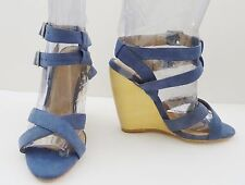 NIB Madison Harding Kereen  Suede Wedge Ankle Sandals Shoe Sz 6 M Denim $345