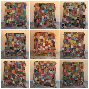 Indian Patchwork Kantha Blanket Quilt Vintage Coverlet Throw Wholesale Gudri