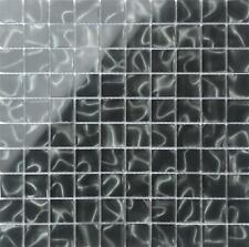 1 SQ M Black Glass with Grey Holographic Effect Glass Mosaic Tile 0135