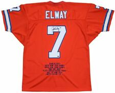 John Elway Signed Auto Denver Broncos Stat Jersey (LE 1/7) Mounted Memories COA