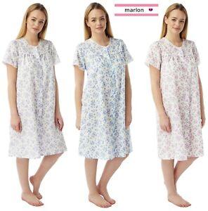 Lightweight Summer Poly Cotton Short Sleeve Nightdress Nightie by Marlon