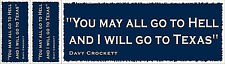 """Davy Crockett """"Hell and Texas """" Bumper Sticker with Two Free Stickers (Blue)"""