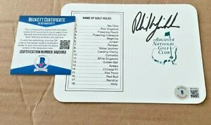 PHIL MICKELSON SIGNED AUGUSTA NATIONAL MASTERS SCORECARD BECKETT CERTIFIED BAS