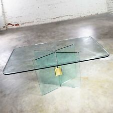 Glass Dining Table with Brass Plated Connector Attributed to The Pace Collection