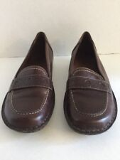 Women's Clark's Penny Loafers Brown Leather Soft Cushion Insoles Size 7 M
