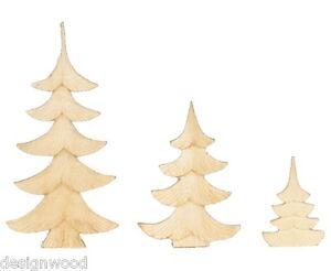 3er Bäumchenset, flach geschnitzt, natur, geschnitzter Baum, Bäumchen