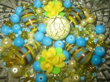 GLASPERLEN MIX/ 80 Stück Lampwork + Glasperlen hellblau - gelb