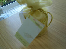 VANILLA SCENTED WHITE CHRISTMAS CALLIGRAPHY CANDLE 3in HIGH x 2.5in GOLD WRAP