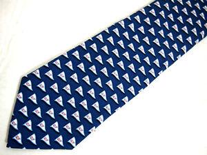 "Vineyard Vines Mens Necktie Tie Blue Tied to a Cause Whale Logo Flags Silk 58"""