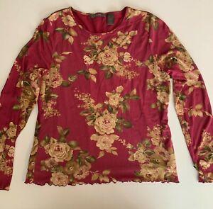 Liz Claiborne women's burgundy/purple floral blouse with connected tank XL