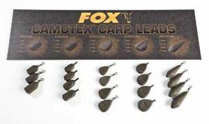 Fox Camotex Coated Leads Inline & Swivel x5 *All Types & Sizes* NEW Carp Fishing
