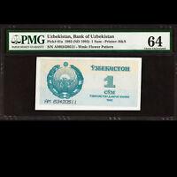 Bank of Uzbekistan 1 Sum 1992 Banknote PMG 64 Choice UNC