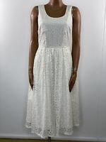 MINT & BERRY Off White Spotty Lace Fit & Flare Rockabilly Midi Dress UK 12