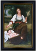 Framed Hand Painted Oil Painting Repro William Bouguereau Lullaby 24x36in