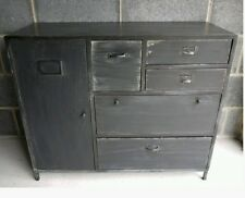 Industrial Black Sideboard Cabinet & Retro Storage Draws Urban Vintage