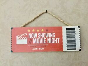 NOW  SHOWING MOVIE NIGHT  Wood Wall Words Hanging Sign. Theater Room Art Decor