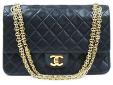 Authentic CHANEL Classic double flap reissue chain bag lambskin black r2306