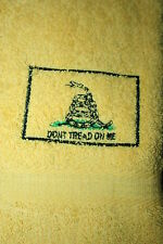 """""""Don't Tread on Me"""" Yellow Hand Towel machne embroidered"""