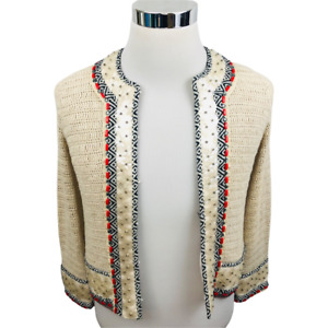 Tory Burch Donovan Sweater Cardigan Jacket Runway Beige 3/4 Sleeve Embellished S