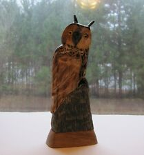 KC Imports Hand Carved Buffalo Horn Great Horned Owl 8in Item HC111 NWT