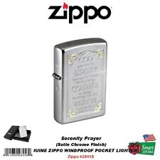 Zippo Serenity Prayer Lighter, Satin Chrome, Etched Genuine Windproof #28458