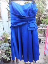 GODIVA robe femmes 12 Belle Bleu Royal Satin. Beaucoup De Détails. impeccable Cond