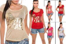 Maglia donna maglietta t-shirt stampe scritte oro maniche corte casual nuova