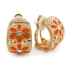 C-shape Crystal Orange Enamel Floral Clip on Earrings in Gold Tone - 16mm L