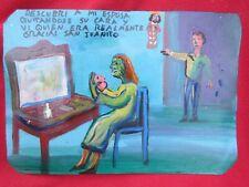 Mexican Folk Art M Hernandez Husband Sees Wife Without Her Mask Ex Voto Retablo
