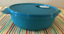 Tupperware Crystalwave Round Divided Dish w/ Cold Cups 4 Cups Caribbean Blue New