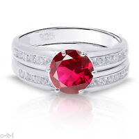 Brilliant  Ruby Engagement Wedding Sterling Silver Ring Set
