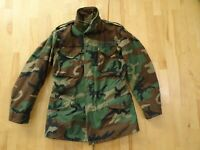 USGI M65 ARMY/AF BDU WOODLAND CAMO COLD WEATHER FIELD JACKET Small Long