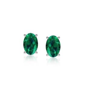 925 Sterling Silver Genuine Emerald 5X7 Oval Stud Earrings